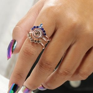 PREVIEW Boho Rose Gold Opal Crystal MIDI Rings 3Pc